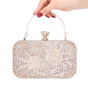 Mooie / Prachtige Zilveren Vierkante Handtassen 2020 Metaal Rhinestone