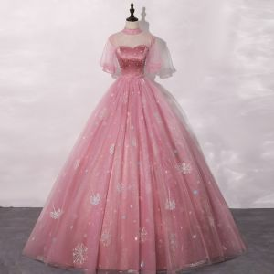 Vintage / Retro Candy Pink Prom Dresses 2020 Ball Gown See-through High Neck Puffy Short Sleeve Rhinestone Appliques Lace Sequins Floor-Length / Long Ruffle Formal Dresses