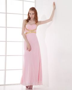 Fashion Chiffon Pleated Sweetheart Ankle Length Evening Dress