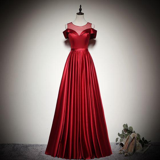 Elegant Solid Color Burgundy Evening Dresses  2020 A-Line / Princess Scoop Neck Short Sleeve Backless Floor-Length / Long Formal Dresses