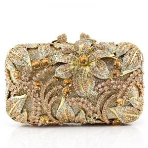 Champagne Beading Clutch Bags Pierced Rhinestone Metal Cocktail Party Evening Party Luxury / Gorgeous Accessories 2019