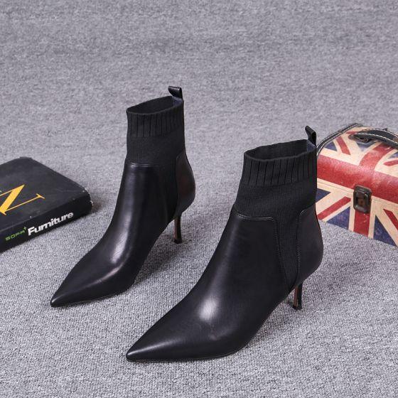 Fine To farger Svart Gateklær Strikking Kvinners støvler 2021 Lær 7 cm Stiletthæler Spisse Ankel Boots