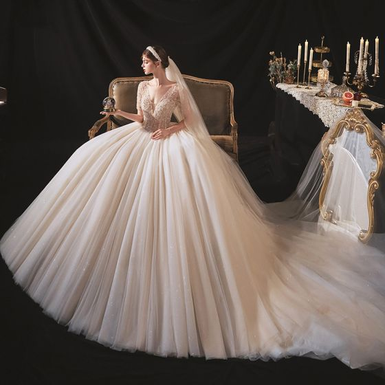 Luxury / Gorgeous Champagne Bridal Wedding Dresses 2020 Ball Gown Deep V-Neck Short Sleeve Backless Handmade  Beading Glitter Tulle Cathedral Train Ruffle