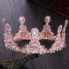 Chic / Beautiful Candy Pink Bridal Jewelry 2017 Metal Beading Crystal Rhinestone Wedding Prom Accessories