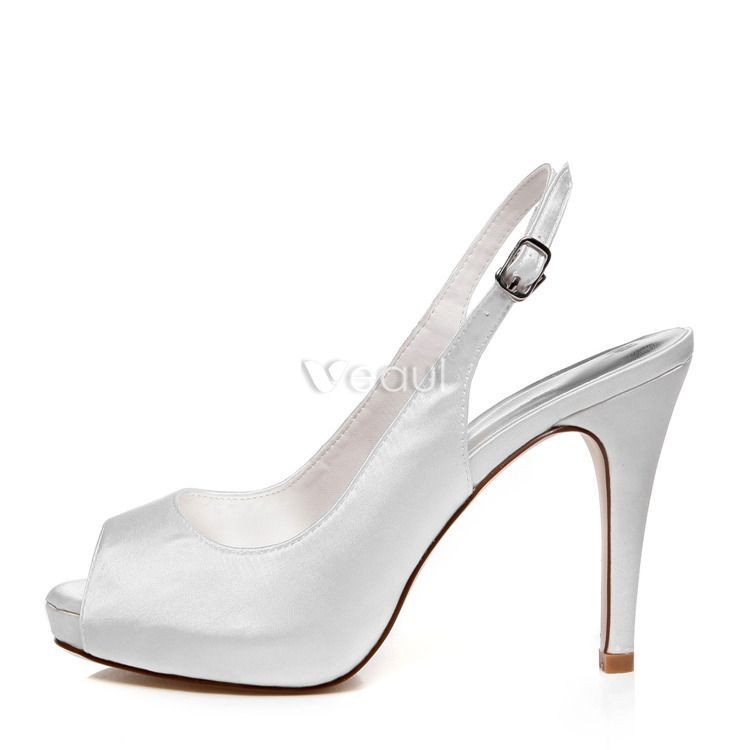 Elegant Wedding Shoes White Pumps Slingbacks High Heel