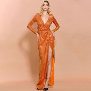 Sexy Orange Evening Dresses  2020 Trumpet / Mermaid Deep V-Neck Long Sleeve Glitter Polyester Split Front Floor-Length / Long Formal Dresses