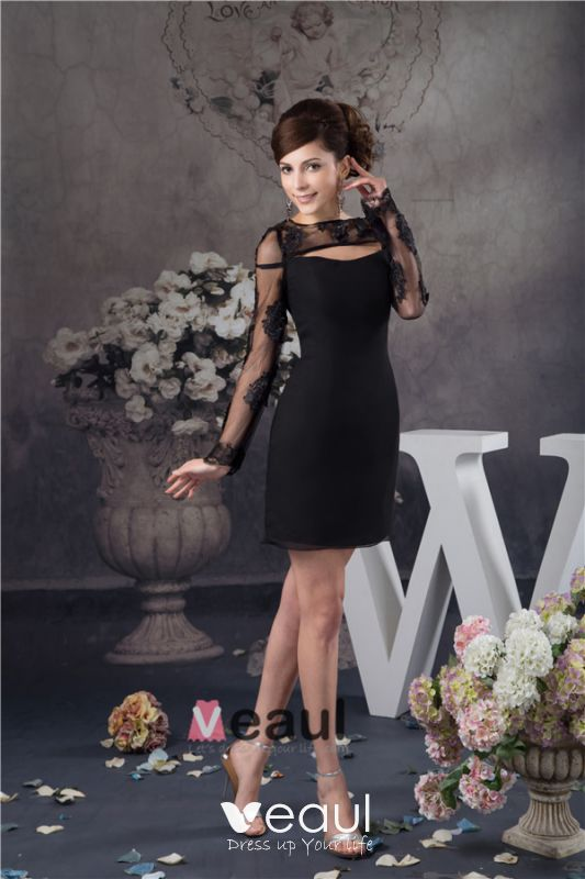 Camisas De Manga Larga De Encaje único Vestido De Fiesta Sencillo Vestido Negro De Cóctel