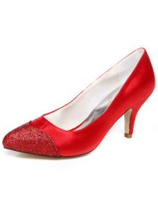 Classic Wedding Shoes 3 Inch Stiletto Heels Pumps Red Satin Bridal Shoes With Glitter