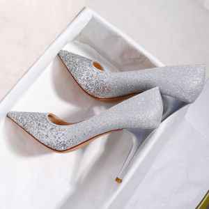 Sparkly Silver Sequins Wedding Shoes 2020 9 cm Stiletto Heels Pointed Toe Wedding Pumps