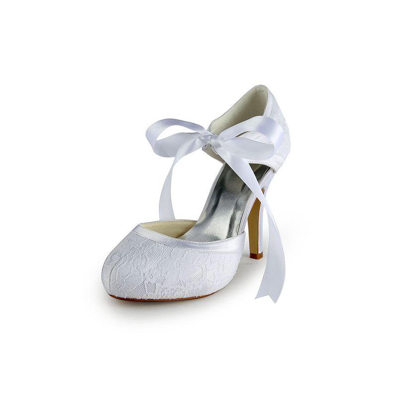 De Chaussures Glamour Dentelle Mariée Talons Blanches Sandales DIWY29beHE