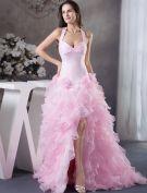 2015 Luxury Ball Gown Halter Handmade Flowers Ruffles Organza Pink Prom Dress
