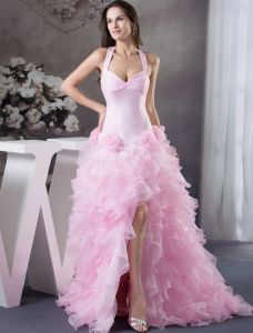 2015 Luxury Ball Gown Halter Handmade Flowers Ruffles Organza Pink Prom Dress