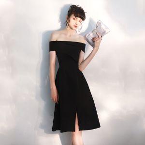 Modern / Fashion Black Party Dresses 2020 A-Line / Princess Off-The-Shoulder Short Sleeve Backless Knee-Length Formal Dresses