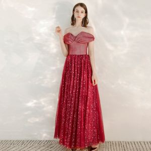 Chic / Beautiful Red Evening Dresses  2020 A-Line / Princess Off-The-Shoulder Short Sleeve Star Sequins Glitter Tulle Floor-Length / Long Ruffle Backless Formal Dresses