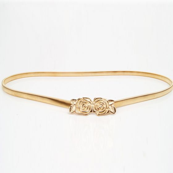 Modest / Simple Gold Prom Belt 2020 Metal Flower Outdoor / Garden Evening Party Accessories
