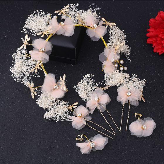 Ozdoby Do Włosów Ślubne Biżuteria Ślubna Piękne 2017 Rumieniąc Różowy Z Koronki Kryształ Koszula