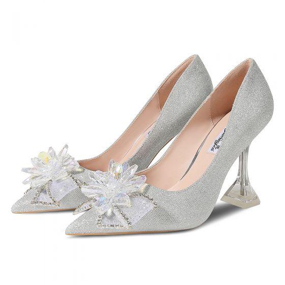 Encantador Plata Zapatos de novia 2020 Lentejuelas Crystal Rhinestone Bowknot 9 cm Stilettos / Tacones De Aguja Punta Estrecha Boda Tacones