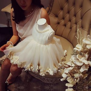 Flower Fairy Ivory Organza Birthday Flower Girl Dresses 2020 Ball Gown Scoop Neck Sleeveless Appliques Flower Pearl Short Ruffle Wedding Party Dresses