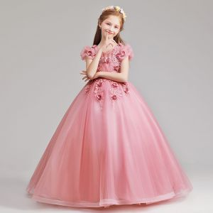 Elegant Candy Pink Flower Girl Dresses 2019 A-Line / Princess V-Neck Puffy Short Sleeve Appliques Lace Flower Pearl Floor-Length / Long Ruffle Wedding Party Dresses