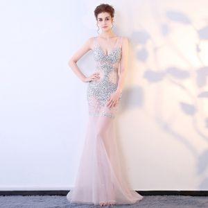 Sexy Blushing Pink See-through Evening Dresses  2018 Trumpet / Mermaid V-Neck Sleeveless Rhinestone Sweep Train Backless Formal Dresses