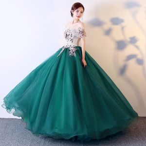 Elegant Dark Green Prom Dresses 2019 Ball Gown Off-The-Shoulder Appliques Lace Short Sleeve Backless Floor-Length / Long Formal Dresses