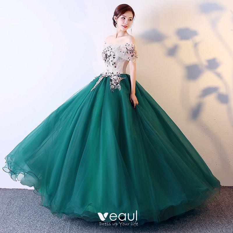 Elegant Dark Green Prom Dresses 2019 Ball Gown Off,The,Shoulder Appliques  Lace Short Sleeve Backless Floor,Length / Long Formal Dresses