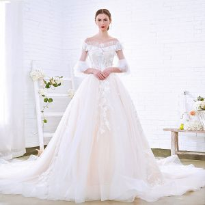Charming Champagne Wedding Dresses 2018 A-Line / Princess Off-The-Shoulder 3/4 Sleeve Backless Appliques Lace Cathedral Train Ruffle