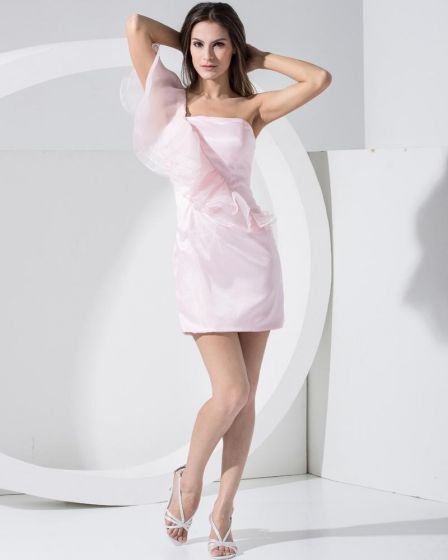 Eleganta Organza Satin Silke Solid Slopping Slim Armlos Backless Klänning Mini Cocktail Festklänningar