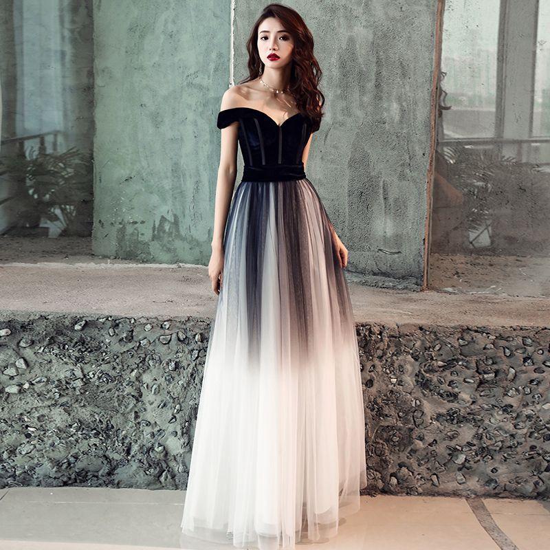 Elegant Gradient-Color Black Prom Dresses 2019 A-Line / Princess Off-The-Shoulder Short Sleeve Backless Floor-Length / Long Formal Dresses