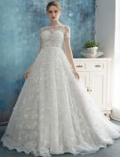 Beautiful Petals Wedding Dresses 2016 A-line Square Neckline Handmade Bridal Gowns