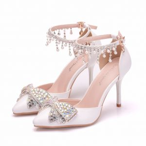 Modern / Fashion White Wedding Shoes 2018 Pearl Rhinestone Tassel 9 cm Stiletto Heels Pointed Toe Wedding High Heels