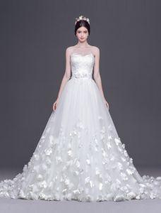 2015 A-linie Prinzessin Schatz Handgefertigten Blumen Tailing Brautkleid Hochzeitskleid