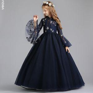 Estilo Chino Marino Oscuro Vestidos para niñas 2019 A-Line / Princess Cuello Alto Manga Larga Bordado Flor Perla Largos Ruffle Vestidos para bodas