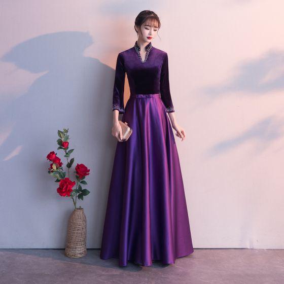 Vintage Traube Abendkleider 2019 A Linie V-Ausschnitt Schleife 3/4 Ärmel Lange Festliche Kleider
