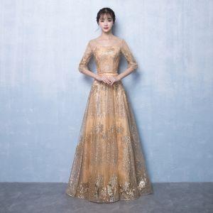 Błyszczące Złote Sukienki Wieczorowe 2017 Princessa V-Szyja 3/4 Rękawy Cekinami Cekiny Szarfa Długie Bez Pleców Sukienki Wizytowe