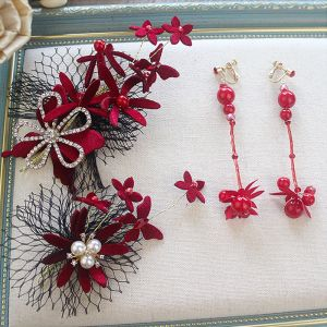 Moda Burgund Welur Kwiat Biżuteria Ślubna 2020 Rhinestone Perła Kolczyki Ozdoby Do Włosów Akcesoria Ozdoby Do Włosów Ślubne