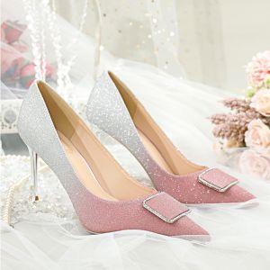 Uroczy Rumieniąc Różowy Cekiny Buty Ślubne 2020 Rhinestone 8 cm Szpilki Szpiczaste Ślub Czółenka