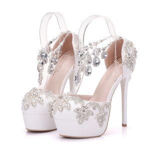 Brillante Blanco Zapatos de novia 2018 Crystal Rhinestone 14 cm Stilettos / Tacones De Aguja Punta Redonda Boda High Heels