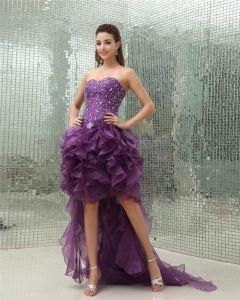 Sweetheart Sleeveless Zipper Beading Dip Hem Asymetrical Organza Woman Prom Dress