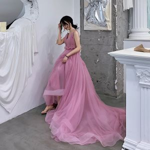 Charming Candy Pink Evening Dresses  2019 A-Line / Princess Deep V-Neck Sleeveless Court Train Ruffle Backless Formal Dresses