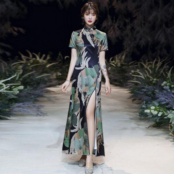 Style Chinois Multi-Couleurs Cheongsam 2020 Trompette / Sirène Col Haut Manches Courtes Impression Fleur Polyester Fendue devant Longueur Cheville Robe De Ceremonie