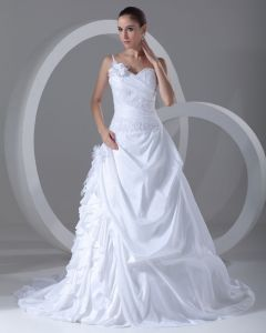 Taffeta Ruffle Flower Beads One Shoulder Court Train Ball Gown Women A Line Wedding Dress
