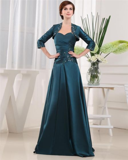 Spaghetti Straps Pleated Beading 3/4 Length Sleeve Zipper Floor Length Satin Mother of the Bride Dress
