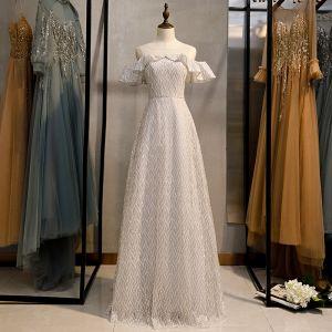 Glittrande Silver Grå Glittriga / Glitter Aftonklänningar 2020 Prinsessa Urringning Paljetter Korta ärm Långa Formella Klänningar