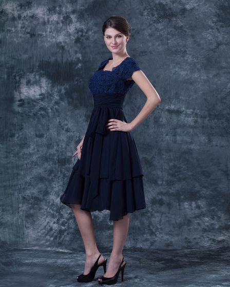 Lace Square Ruffle Knee Length Mothers of Bride Guests Dresses
