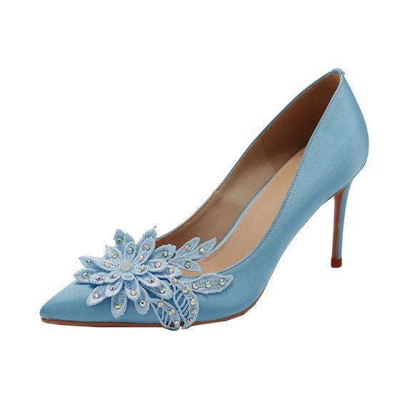 Elegant Blå Brudepige Pumps 2020 Satin Med Blonder Blomsten Rhinestone 8 cm Stiletter Spidse Tå Pumps