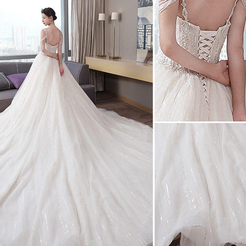 Fabulous Champagne Wedding Dresses 2019 A-Line / Princess Beading Spaghetti Straps Sequins Sleeveless Backless Royal Train