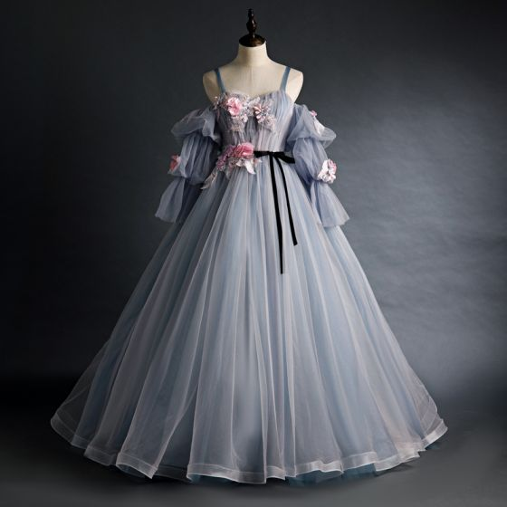 Flower Fairy Grey Prom Dresses 2020 Ball Gown Spaghetti Straps Puffy 3/4 Sleeve Appliques Lace Flower Beading Floor-Length / Long Ruffle Backless Formal Dresses