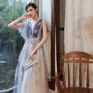 Chic / Beautiful Purple Gradient-Color White Evening Dresses  2020 A-Line / Princess See-through Deep V-Neck Short Sleeve Glitter Tulle Appliques Flower Beading Floor-Length / Long Ruffle Backless Formal Dresses