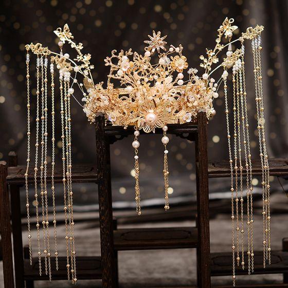 Stunning Gold Bridal Jewelry 2020 Metal Beading Pearl Tassel Earrings Tiara Bridal Hair Accessories